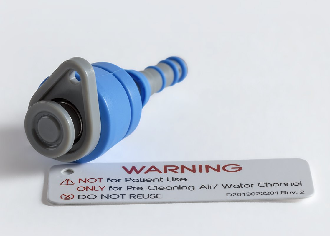 Air/Water Cleaning Adapter increases procedural efficiency by eliminating the need for tracking and reprocessing.